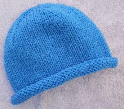 Free Knitting Pattern - Hats: Roll Edge Adult Cap knitting Pinterest Pa...