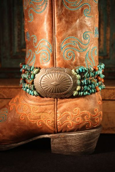 Are you going to be wearing cowgirl boots at your wedding? Add a boot belt for a little something special. Subtle or bold like this Turquoise & Concho Boot Belt