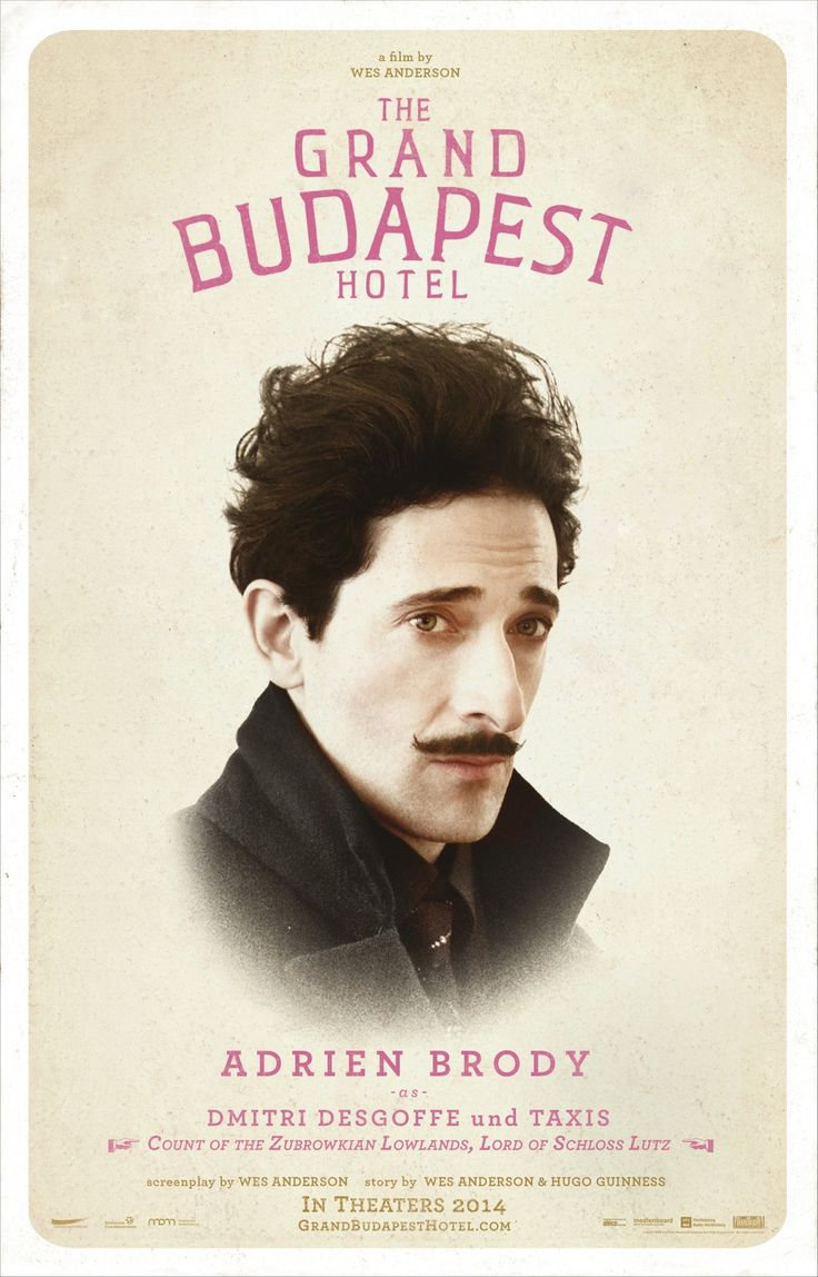 Adrien Brody as Dimitri Desgoffe und Taxis ~ Count of the Zubrowkian Lowlands, Lord of Schloss Lutz #thegrandbudapesthotel