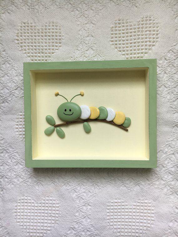 Caterpillar decor, caterpillar art, framed pebble art, nursery wall hanging, baby shower gift, kid's room wall art, painted stones