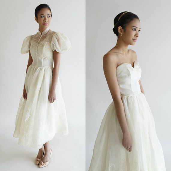 Vintage Tea Length Wedding Dress 1950s By BelovedVintageBridal