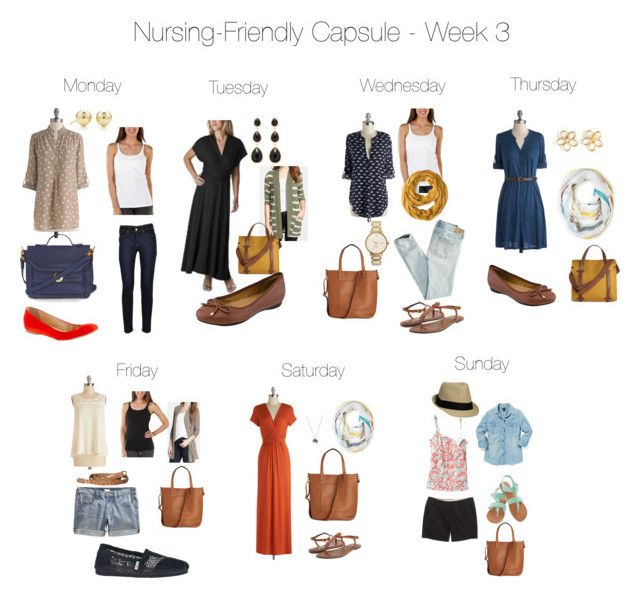Nursing-Friendly Capsule Wardrobe - Week 3 by pearlsandcupcakes on Polyvore featuring polyvore fashion style Bobeau Lucky Brand Kische American Eagle Outfitters J.Crew Levi's Gilligan & O'Malley TOMS Sam Edelman Topshop Forever New Marc by Marc Jacobs Tiffany & Co. ONLY Indigo by Clarks Kate Spade clothing