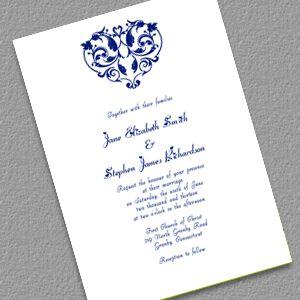 Heart Filigree Invitation - Navy