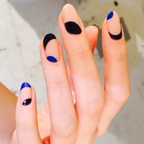 Negative Space Nails: @nail_unistella love this womans nail art