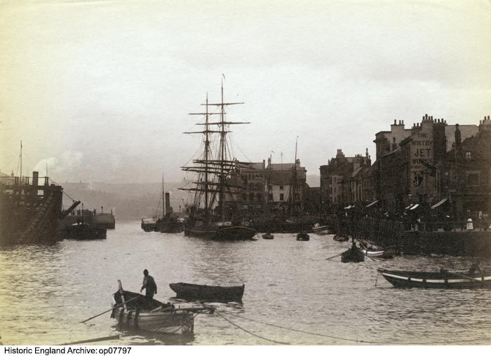 OP07797 Whitby harbour looking south from the River Esk with a tall ship in the centre of the image and St Ann Staith on the right. 1850 - 1920. Please click for more information or to search the collection.