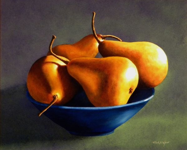 """""""BLUE BOWL WITH FOUR PEARS"""" is a 16 x 20 inch original oil painting on a hardboard panel. $1,600 framed.  Museum Quality Prints are available in eight sizes on your choice of two canvases, five canvas wraps, seven different papers, 1/4 inch acrylic and even on 1/16 inch polished metal!  5 x 7 inch greeting cards are also available."""