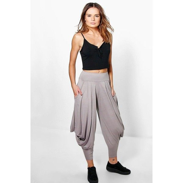Boohoo Valencia Oversized Slouchy Hareem Trousers (21 CAD) ❤ liked on Polyvore featuring pants, sand, white pants, saggy pants, wide-leg trousers, flat-front pants and sport pants