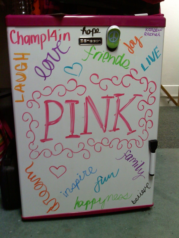 pink mini fridge #collegelife @Julia Richey