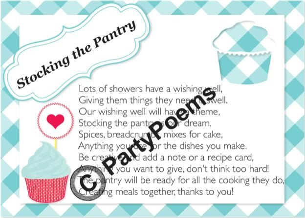 PRINTED Stock the Pantry Theme Bridal Shower Poem by PartyPoems