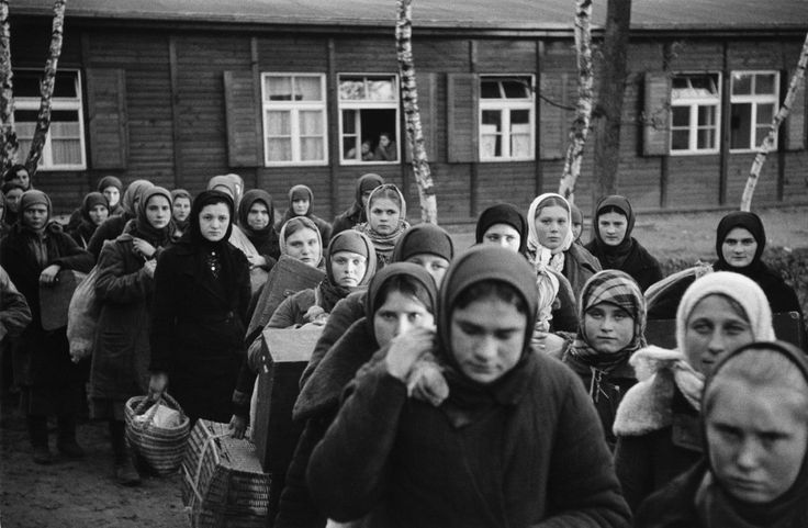 Soviet women rounded up for forced labor arrive at the Wilhelmshagen Durchgangslager (transit camp) in Berlin.From here they were sent to industrial sites all over Berlin to toil in factories. Wilhelmshagen saw the importation of over 500,000 foreign forced laborers from all over occupied Europe. About 12 million forced laborers were employed in the war economy inside Germany during the war. Between two-thirds and three-quarters of thethree to five millionOstarbeiters (Eastern workers)…