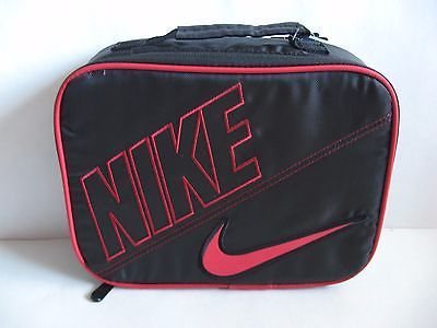 NIKE INSULATED LUNCH TOTE BAG BOX STORAGE Black/Red with Zipper 9A2217-KR5 $14.99