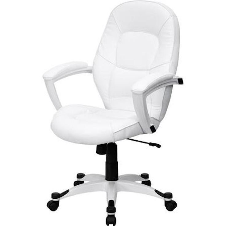 White Leather Office Chair With Padded Arms Padded Back Seat Tilts Rolls Awesome #QD #MidBackRollingExecutive
