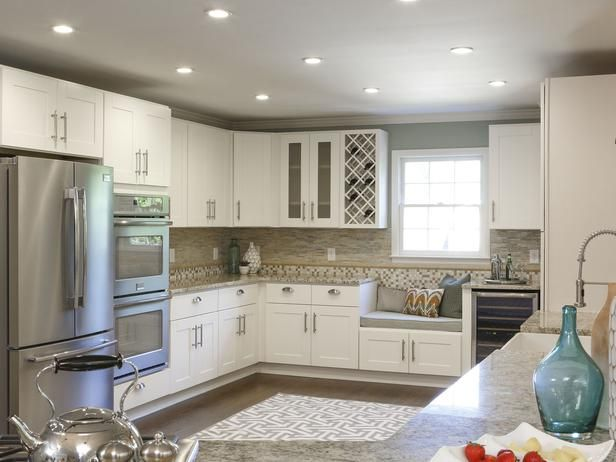 Refreshed Floor Plan - Rockin' Renos from HGTV's Property Brothers on HGTV. I love the seating area by the wine fridge and the recessed lighting. We all know how kids (and adults) like to gather in the kitchen while you're cooking!