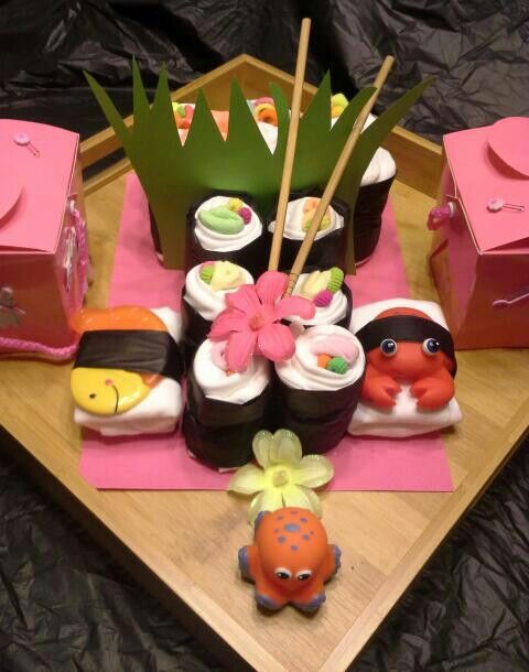 Sushi themed Diaper cake. 7-28-13 for Baby Parker