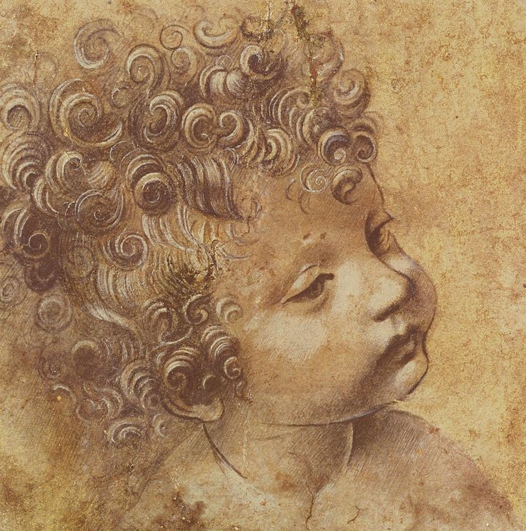 Leonardo da Vinci, 1452-1519, Italian, Study of a child's head.  Red chalk heightened with white on paper.  Musée des Beaux-Art, Caen.  High Renaissance.