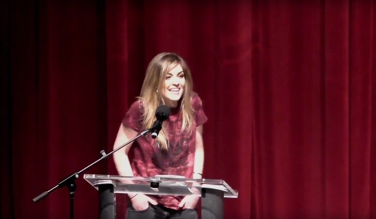 Carly (McKillip) Savard from One More Girl giving her acceptance speech after winning the Keyboard Player of the Year Award at the 2017 BCCMA Awards