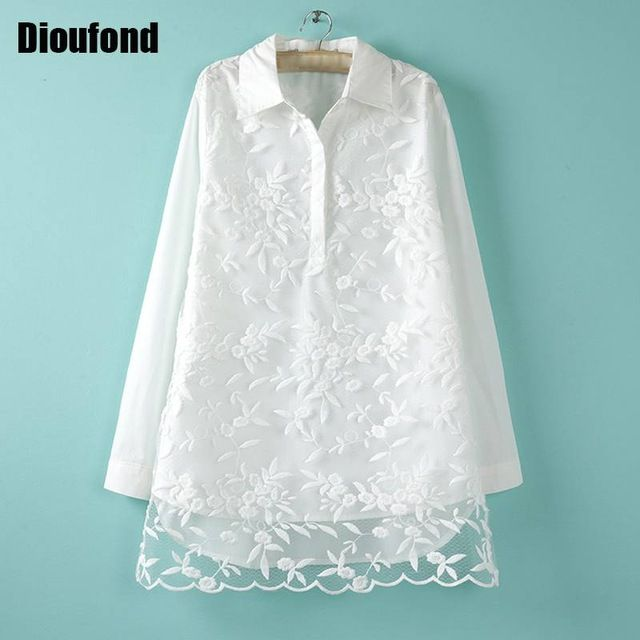 Dioufond Stylish Flower Embroidered White Shirt Women Lace Patchwork Hollow out Tops Female Long Sleeve Casual Women Clothes
