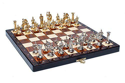Woodeyland Jeu d'échecs en bois MÉTAL Armée GRECQUE ROMAINE QUALITÉ SUPÉRIEURE: La hauteur du roi est d'env. 5,8 cm Mesures carrés 3x3 cm…