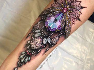 Heart Ruby With Skull Painting Ideas Jewel Tattoo