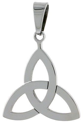 Stainless Steel Celtic Triquetra Holy Trinity Pendant, 7/8 inch tall, w/ 30 inch Chain Sabrina Silver. $14.58. Save 50%!