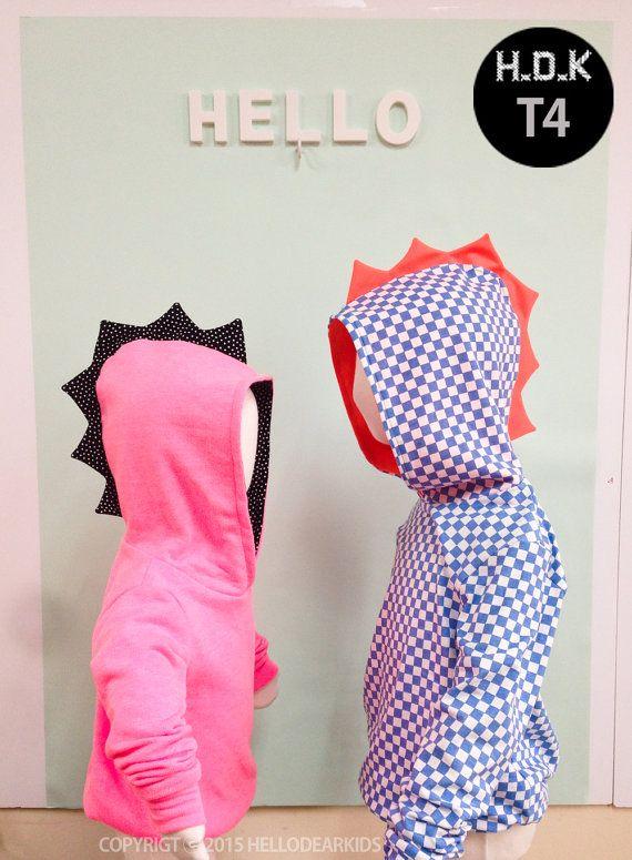 kids sewing pattern pdf/ kids Dino hoodie/ children clothing/Toddler sewing pattern/ 6M-11years
