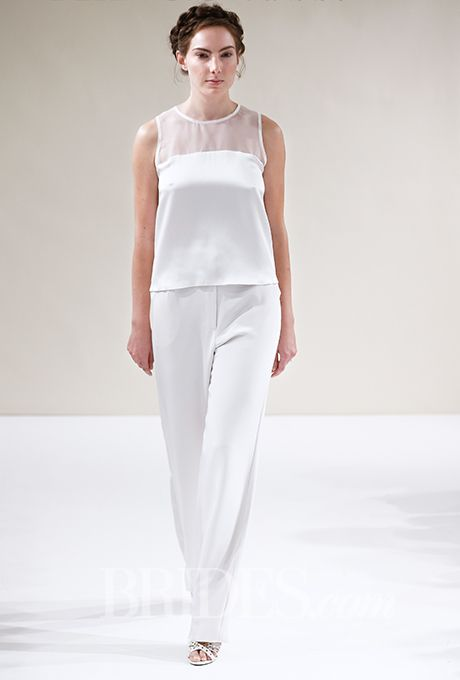 "Brides.com: . Trend: Pants. ""Carey"" sleeveless silk satin blouse with an illusion high neckline, with ""Cleo"" silk charmeuse wide leg trouser, Della Giovanna"