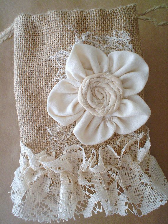 Burlap and Lace Bag Pouch Gift Bag Handmade Fabric Flower Fabric Lace Collage