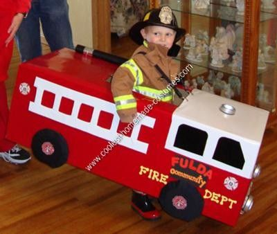 Homemade Fireman and Fire Truck Halloween Costume: I was so excited when my 3 year old son said he wanted to be a fireman for Halloween.  So, I got to work researching how I would make this all happen.
