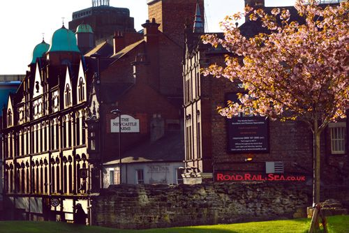 Section of the old city wall on the edge of Newcastle City Centre. Travel to Newcastle in just 3 hours by train or stay overnight before catching the ferry to Amsterdam with DFDS.