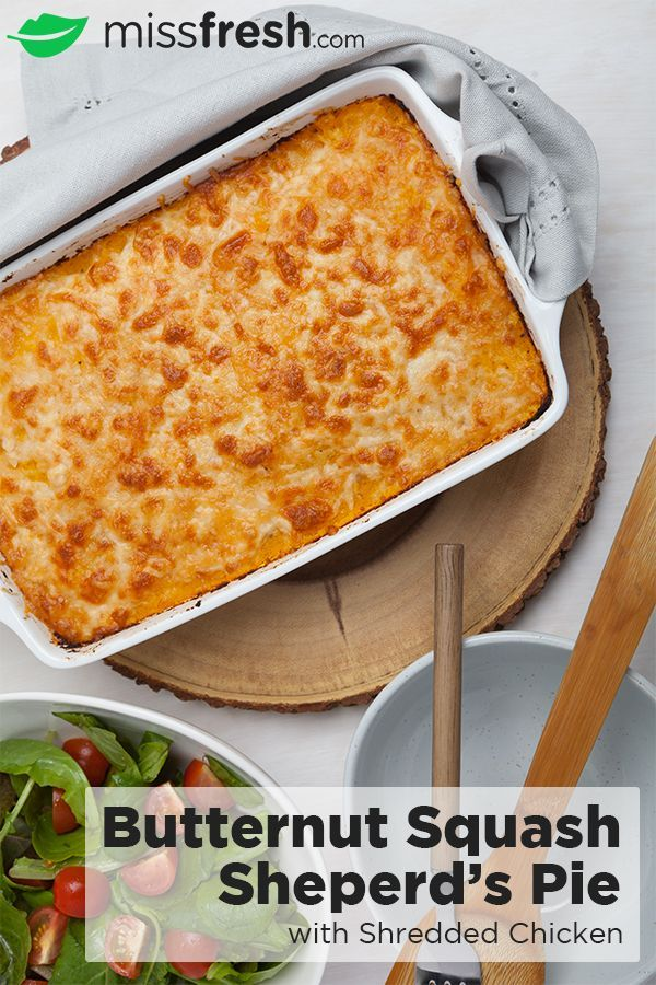 Change up your traditional Shepherd's Pie by switching out ground beef and mashed potatoes for healthier shredded chicken and butternut squash, adding some vibrant colours to your plate alongside a fresh Spring mix salad!