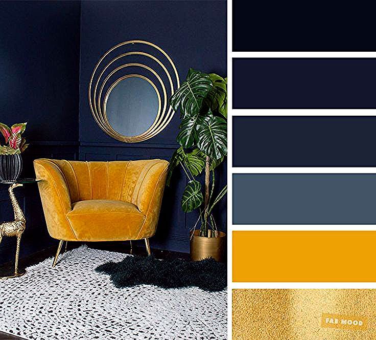Les Meilleurs Coloris De Salon Bleu Marine Jaune Moutarde Et Couleur Or Mariage Deco En 2020 Salon Bleu Marine Salon Jaune Salon Avec Canape Brun