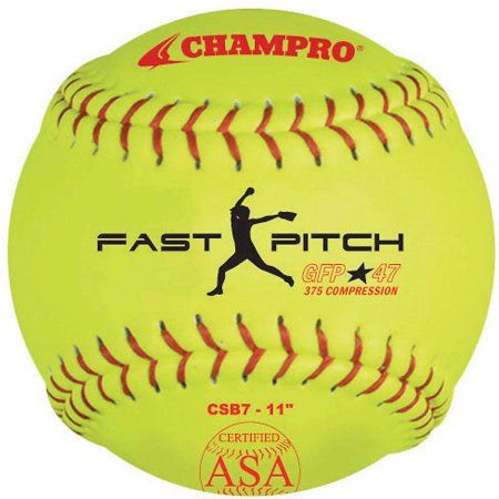 Champro ASA 11 inch Fast Pitch Softballs, 1 Dozen, Yellow