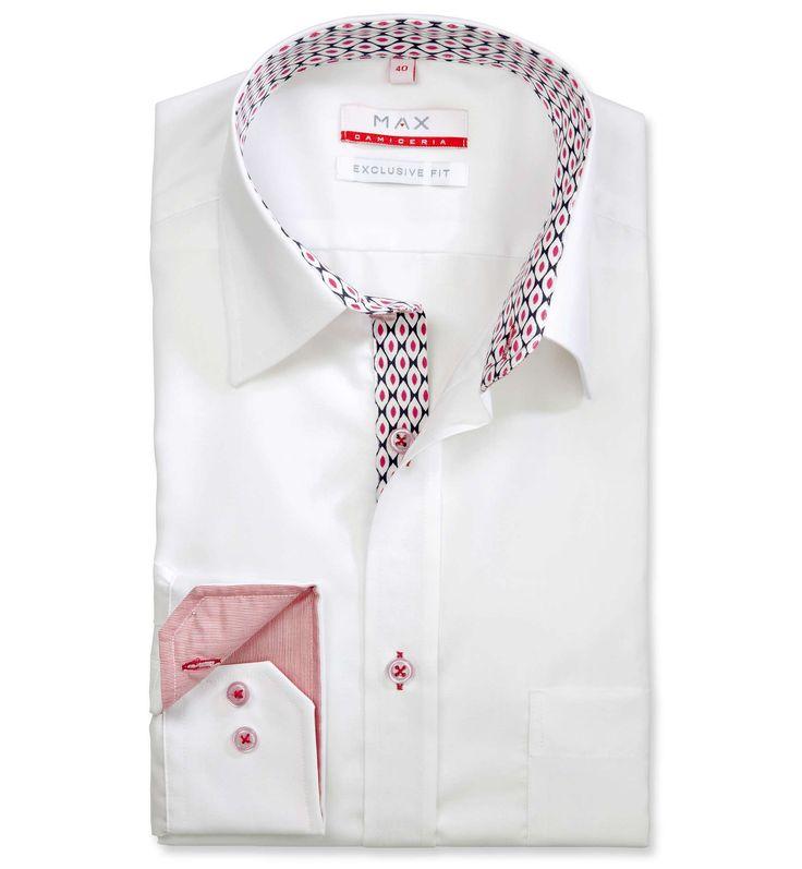 Modern Fit polopriliehavá biela jednofarebná košeľa Popelín (plátnová tkanina)