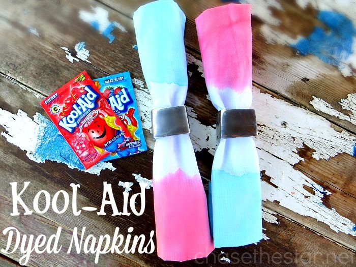 Kool Aid Dyed Napkins, perfect for the 4th of July! via Chase the Star