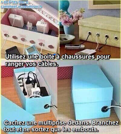 Voici une boîte sympathique pour ranger et cacher les câbles qui courent partout dans la maison et qui s'emmêlent. Découvrez l'astuce ici : http://www.comment-economiser.fr/rangement-cables-emmelent-plus.html?utm_content=bufferfc07b&utm_medium=social&utm_source=pinterest.com&utm_campaign=buffer