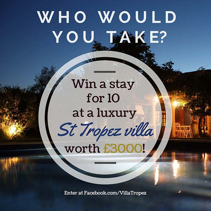 """#win a holiday in St Tropez worth £3000! You and up to 9 friends could be holidaying like A-listers at Villa Tropez. Prize include a 1-hour cruise. Follow these TWO simple steps to enter: 1) LIKE the Villa Tropez Facebook page: www.facebook.com/villatropez 2) LIKE & COMMENT on the competition post with a short answer to this question: """"If you could sail away to St Tropez who would you take and why?"""".1 runner up will win a case of rosé. Competition ends 7 Aug 2014. See bit.ly/UurEGv for full…"""
