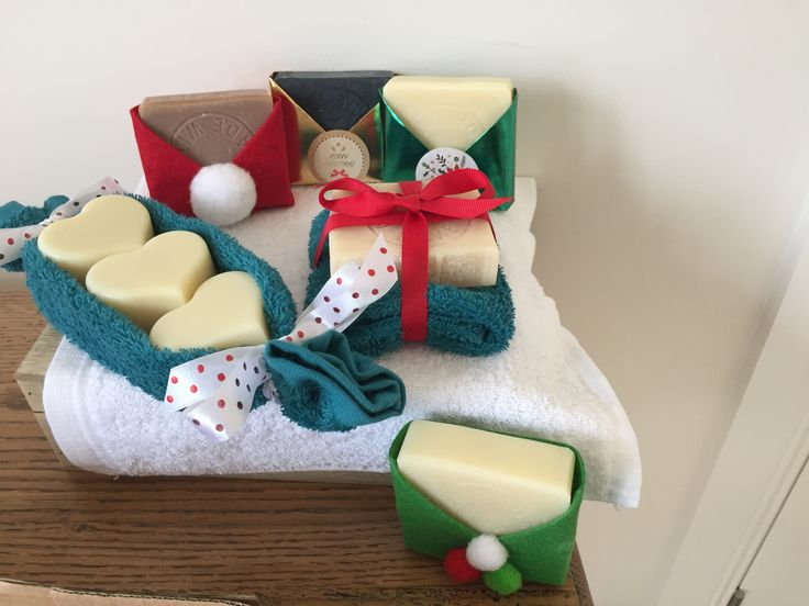 Natural soaps wrapped as part of our Christmas collection.