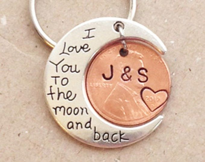 THE ORIGINAL I Love You To The Moon And Back Keychain, stamped pennies, ANNIVERSARY gift for husband , wife, moon keychain, Valentines gift