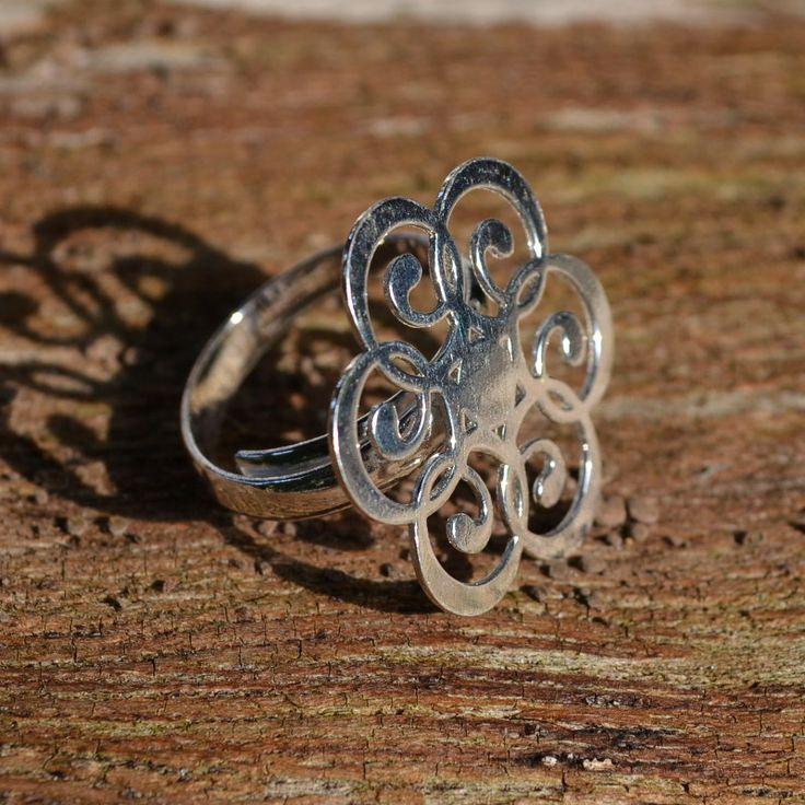 Prachtige verstelbare ring van zilver 950 met mandala design.  Gratis verzending in Nederland!
