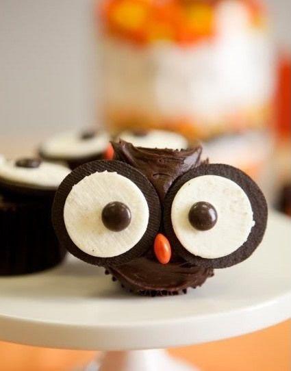 Cupcake, cookie owl chocolate.
