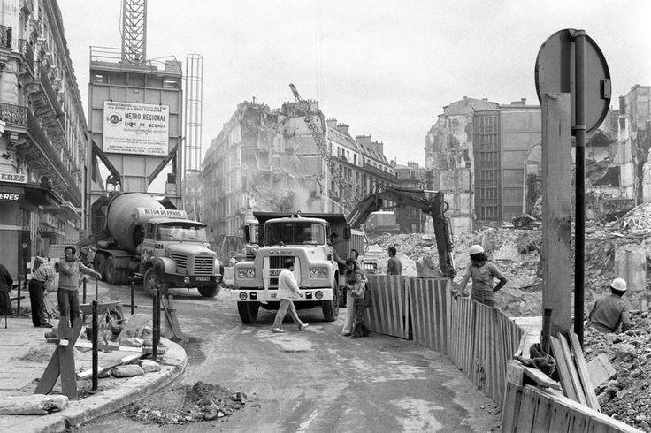 1974 Chantier de reconstruction du quatrier des Halles à Paris
