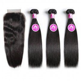 6A Remy Hair 3 Bundles with Closure Deal Peruvian Hair Silky Straight