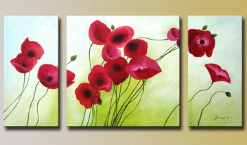 Red Flowers Hand-painted 3-piece Modern Stretched Oil Painting o