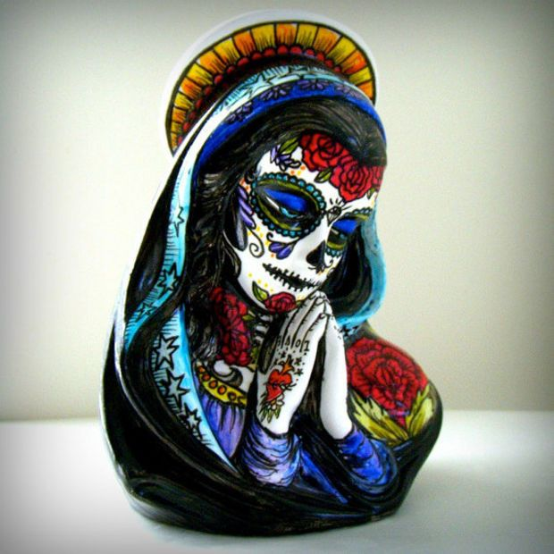 Ceramic planter day of the dead sugar skull tattooed mary madonna vase hand painted sacred heart