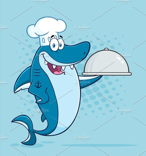 Chef Blue Shark Graphics Chef Blue Shark Cartoon Mascot Character Holding A Platter. Illustration With Blue Halftone Backgrou by HitToon
