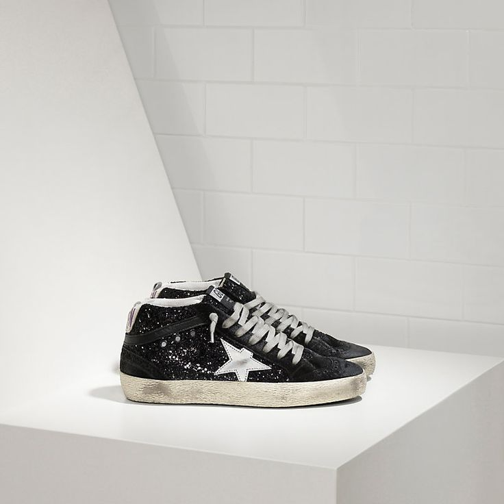 Sneakers MID STAR in Pelle all over glitter e stella in pelle laminata - Women