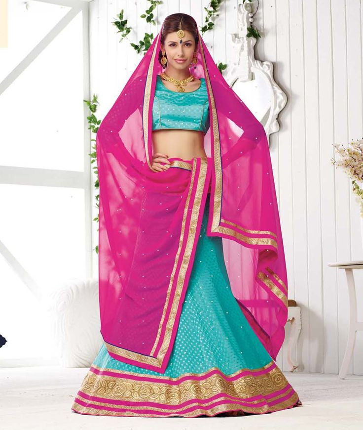 Aqua Chinon Wedding Lehenga Choli 65217