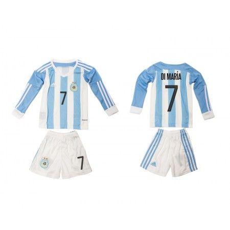 Argentina Trøje Børn 2016 Angel #Di Maria 7 Hjemmebanetrøje Lange ærmer,222,01KR,shirtshopservice@gmail.com