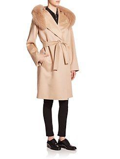 Max Mara Studio - Lallo Fur-Trimmed Cashmere Coat  2 44586c178ba6f