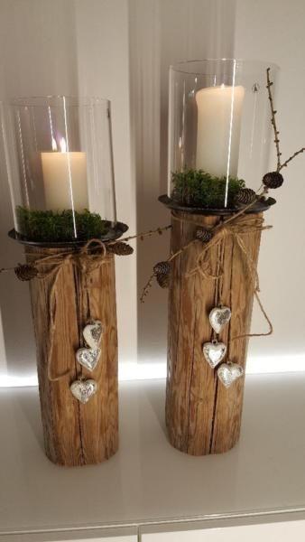 Das hat nicht jeder: Mit einer prächtigen Kerze versehen, wird dieses Windlicht zum einzigartigen…,Windlicht Holz Laterne Kerze Holzbalken Glas Natur-Holz-Design in Bayern – Waldkraiburg
